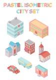 Isometrisk stadsuppsättning Arkivbild