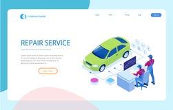 Isometrisk station för service för automatisk reparation Arbetare i illustration för vektor för service för bilservicegummihjul o vektor illustrationer