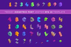 Isometrisk stilsort 3d Modern pappers- stildesignbeståndsdel Färgrik alfabetmall, vektorillustration Royaltyfria Bilder