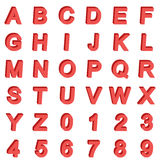 isometrisk stilsort för alfabet 3D Märker och numrerar Tredimensionell enkel materielvektor Arkivfoton