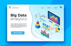 Isometrisk stor dataanalytics Analytisk infographic statistikinstrumentbräda vektor för illustration 3d stock illustrationer