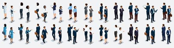 Isometrisk stor uppsättning av affärsmän och affärskvinnan, främre sikt och bakre sikt, vektorillustration vektor illustrationer