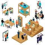 Isometrisk student Icon Set för utbildning stock illustrationer