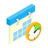Isometrisk symbol 3d för kalender och för klocka royaltyfri illustrationer