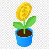 Isometrisk symbol 3d för pengarträd Arkivfoto