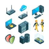 Isometrisk symbolsuppsättning av olika elektroniska system för datacenter royaltyfri illustrationer