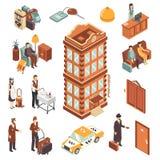 Isometrisk symbolsuppsättning för hotell stock illustrationer