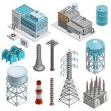 Isometrisk symbolsuppsättning för industribyggnader stock illustrationer