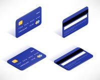 Isometrisk symbolsuppsättning för kreditkort stock illustrationer