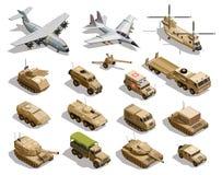 Isometrisk symbolsuppsättning för militär transport royaltyfri illustrationer