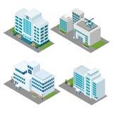 Isometrisk symbolsuppsättning för sjukhus stock illustrationer