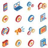 Isometrisk symbolsuppsättning för socialt nätverk Arkivfoton
