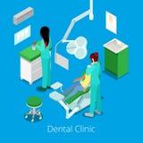 Isometrisk tandläkare Cabinet Interior med patienten och doktorn royaltyfri illustrationer