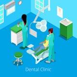 Isometrisk tandläkare Cabinet Interior med patienten och doktorn stock illustrationer