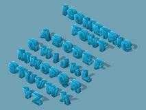 Isometrisk tecknad filmstilsort, 3D bokstäver, ljus stor uppsättning av blåa bokstäver av det engelska alfabetet som skapar vekto vektor illustrationer