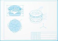 Isometrisk teckning av en hamburgare Fotografering för Bildbyråer