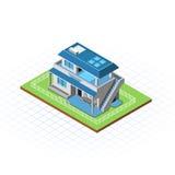 Isometrisk terrasserad husvektorillustration Arkivbilder