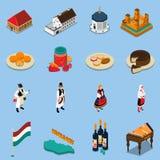 Isometrisk Touristic symbolsuppsättning för Ungern royaltyfri illustrationer