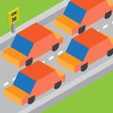 Isometrisk trafikstockning Arkivfoto