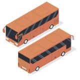 Isometrisk turist- buss Realistisk buss i en plan stil Royaltyfri Foto