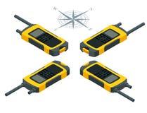 Isometrisk turist- navigatör GPS applikation Plan illustration för vektor 3d Royaltyfri Fotografi