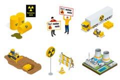 Isometrisk uppsättning av beståndsdelar för radioaktiv avfalls Folket protesterar, trummor, trans., kraftverket eller reaktorer,  royaltyfri illustrationer