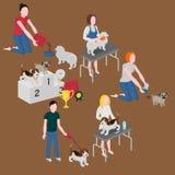 Isometrisk uppsättning av hundomsorg Älsklings- ägare som matar, går och gör ren Veterinär- och ansa Vovvekonkurrensvinnare vektor illustrationer