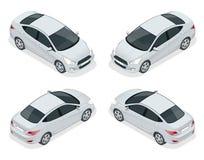 Isometrisk uppsättning av Sedanbilar Kompakt hybrid- medel Eco-vänskapsmatch högteknologisk automatisk Isolerad bil, mall för att royaltyfri illustrationer