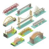 Isometrisk uppsättning för broar stock illustrationer