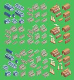 Isometrisk uppsättning för fabriksvektorsymbol som inkluderar byggnader 3d, diversehandellagret och andra industriella strukturer royaltyfri illustrationer