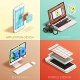 Isometrisk uppsättning för grafisk design vektor illustrationer