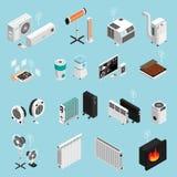 Isometrisk uppsättning för hem- klimat royaltyfri illustrationer