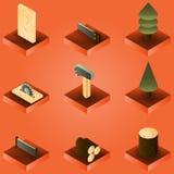 Isometrisk uppsättning för skogsarbetarefärglutning vektor illustrationer