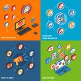 Isometrisk uppsättning för sociala nätverkssymboler royaltyfri illustrationer