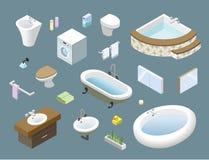 Isometrisk uppsättning för vektor av badrummöblemang, symboler för hem för design för inre 3d Arkivfoton