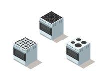 Isometrisk uppsättning för vektor av elkraft- och gasspisen, ugn, kökutrustning Fotografering för Bildbyråer