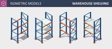 Isometrisk uppsättning för vektor av lagring Shalving eller kuggen royaltyfri illustrationer