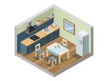 Isometrisk uppsättning för vektor av symboler för kökmöblemang- och hushållanordningar Arkivfoto