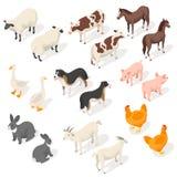 Isometrisk uppsättning för vektor 3d av lantgårddjur stock illustrationer