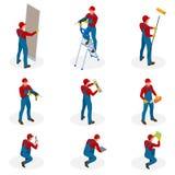 Isometrisk uppsättning med hem- reparationsarbetare som gör underhåll, industriellt leverantörarbetarfolk Isolerat över vit stock illustrationer