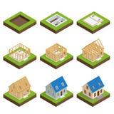 Isometrisk uppsättningetapp vid etappkonstruktion av ett blockhus Husbyggnadsprocess Fundament som häller, konstruktion royaltyfri illustrationer