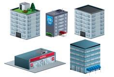 Isometrisk uppsättningillustration för byggnader Arkivbild