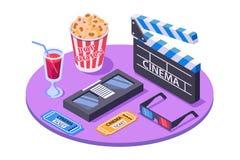 isometrisk utrustning 3d med biljetten, pophavre, stereo- exponeringsglas, sodavatten, kassett stock illustrationer