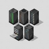 Isometrisk utrustning för maskinvara isolerad server för telekommunikation 3d royaltyfri illustrationer