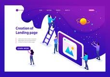 Isometrisk utveckling och skapelse av en Website vektor illustrationer