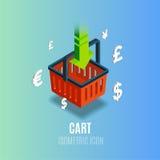 Isometrisk vagnssymbol med valuta också vektor för coreldrawillustration Arkivfoto
