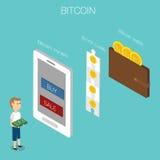 Isometrisk vektor 3D för Bitcoin begrepp Arkivbilder