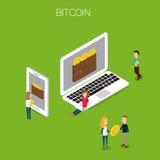 Isometrisk vektor 3D för Bitcoin begrepp Royaltyfria Bilder