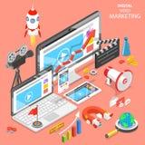 Isometrisk vektor Digital för video marknadsföringslägenhet vektor illustrationer