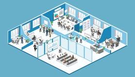 Isometrisk vektor för begrepp för inreavdelningar konferenskorridor, kontor, arbetsplatser stock illustrationer